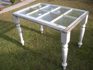 Old window, repurpose windows, window table